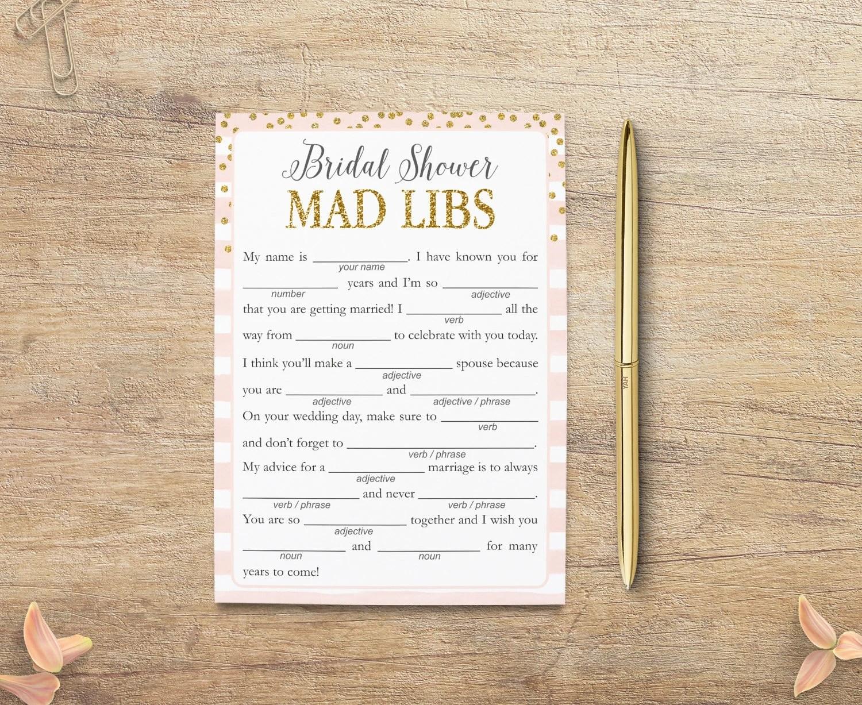 Bridal Shower Mad Libs Printable Bride Advice Word Game