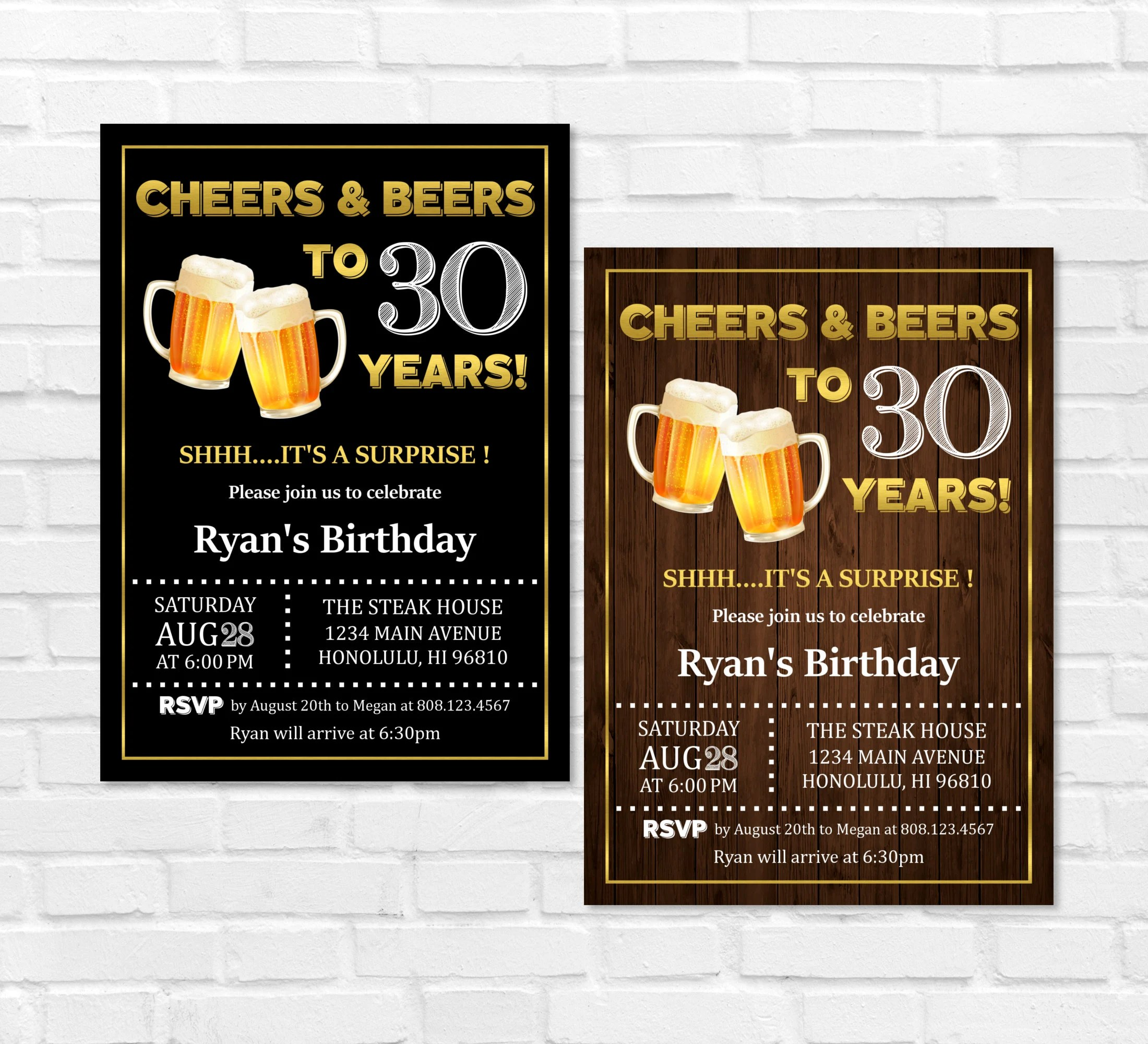 30th Birthday Invitation For Him Cheers And Beers To 30 Years Etsy