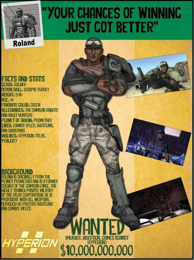 borderlands 2 wanted posters roland
