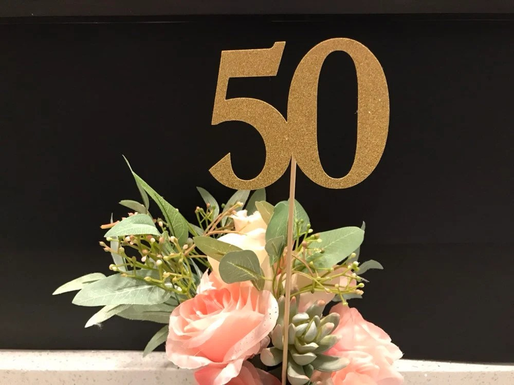 50th Birthday Centerpiece Sticks Glitter 50th Birthday Etsy