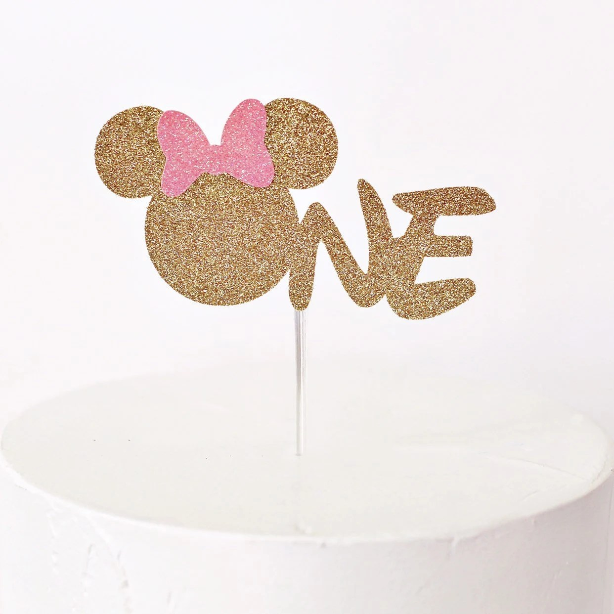 Minnie Mouse One Cake Topper First Birthday Cake Topper Etsy