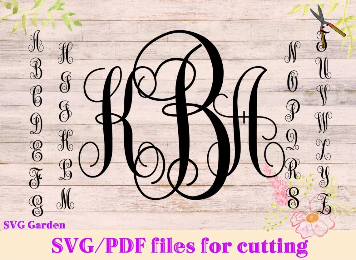 Download SVG font files for Cricut Silhouette Monogram SVG letters ...