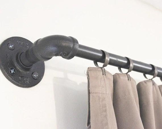 industrial pipe window curtain rod rustic gun metal gray modern drapery hanger farmhouse drapery rod window treatment bestseller