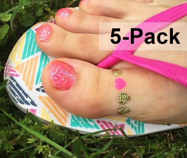 Toe Ring Tattoos Metallic Gold Tattoo Jewel Flash Tattoos Pink Heart Body Stickers Beach Tattoo Summer Fake Tats Jewelry Heart Tattoos