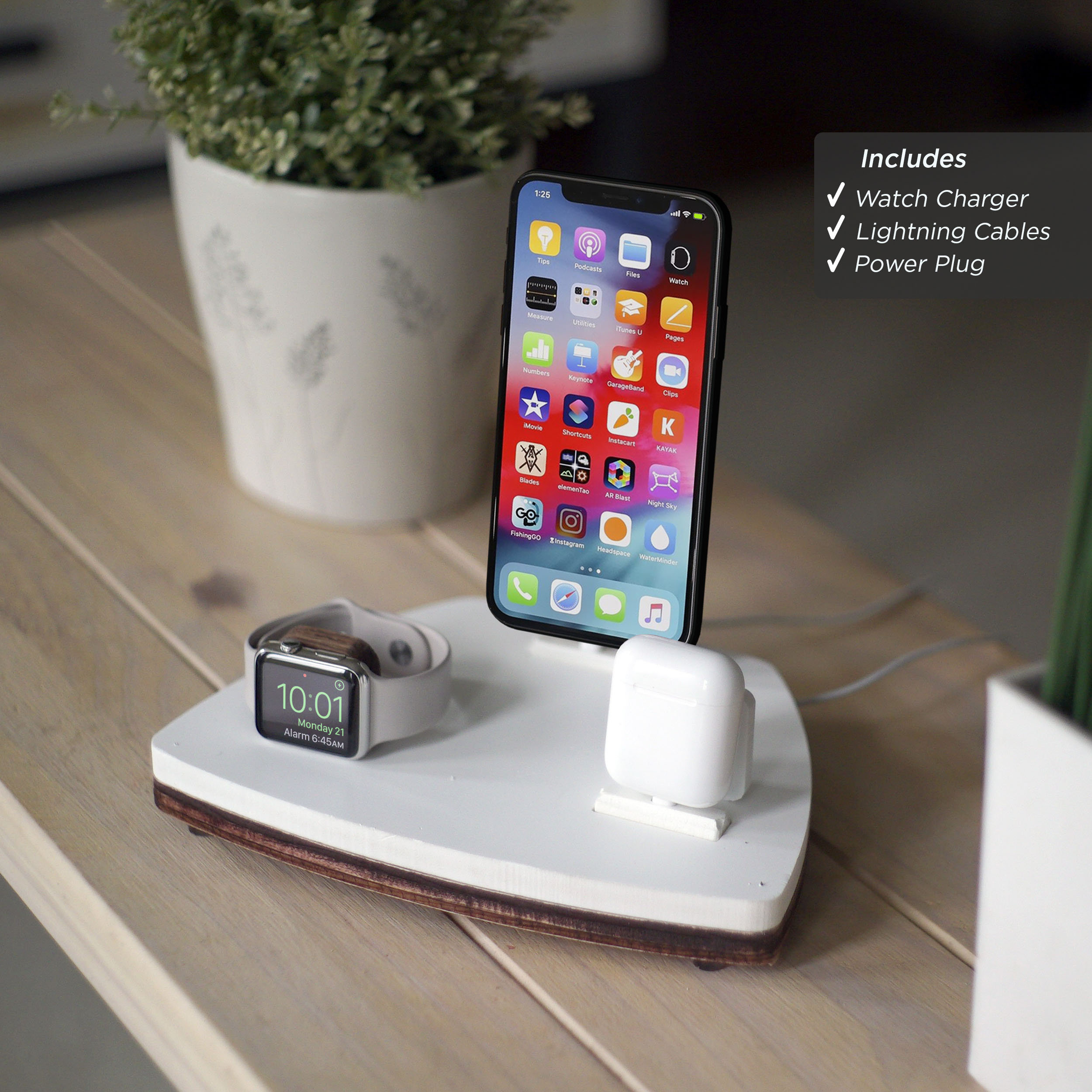 Airpods Trio 1 White Charging Station Wireless Iphone Xs Xr 8 Airpods Apple Watch Nightstand Organizer Birthday Gift Home Decor