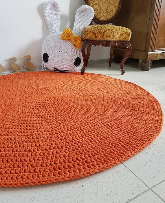 tapis rond orange moderne tapis rond de secteur pepiniere tapis skandinavische teppich rund alfombra trapillo moderne enfant grand crochet plancher