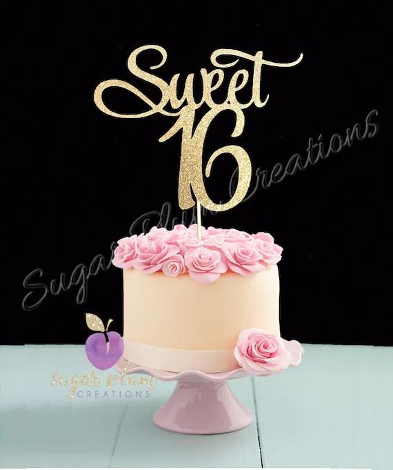 Sweet 16 Birthday Cake Topper Sweet Sixteen Cake Topper Etsy