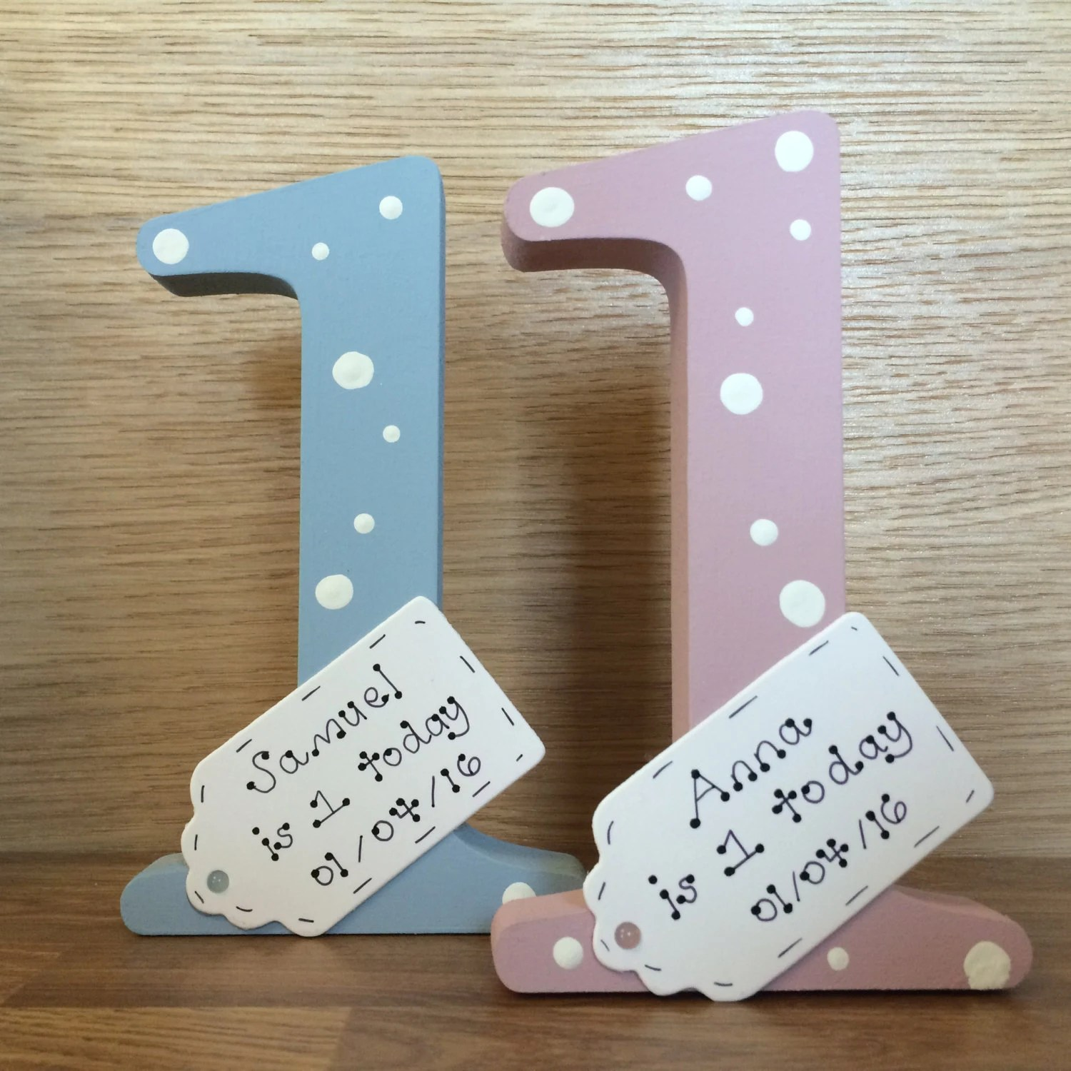 Personalised 1st Birthday Gift Handmade Wooden Number One For Etsy