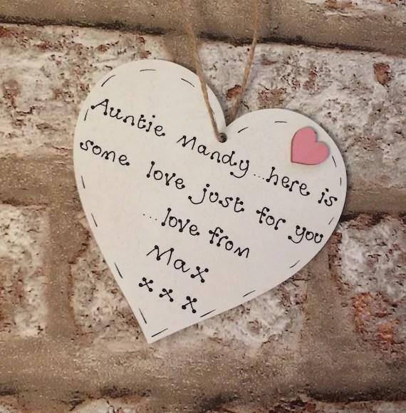 Auntie wooden heart