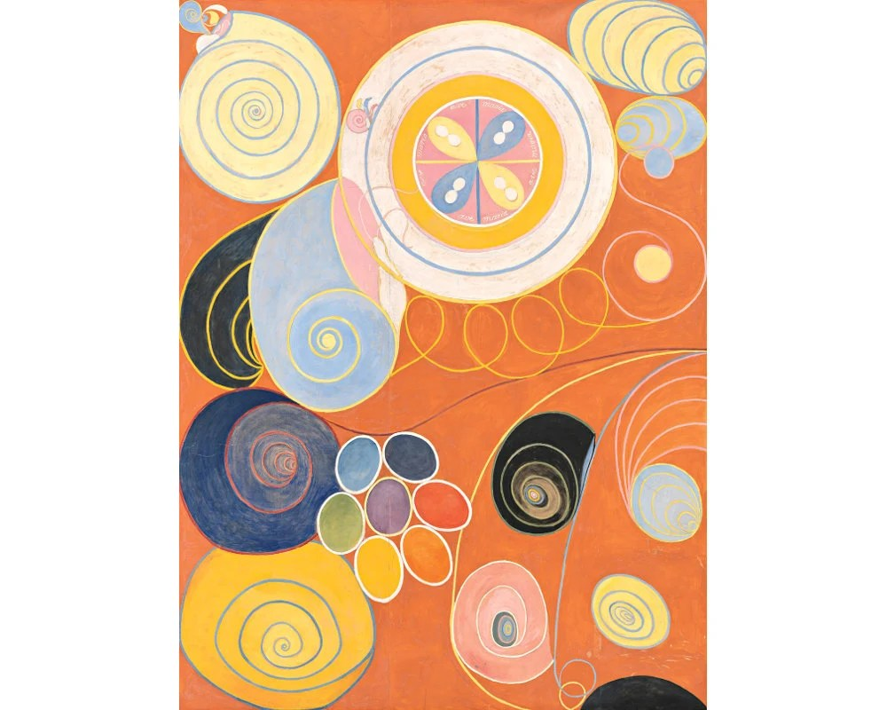 hilma af klint art print the ten largest no 3 childhood mystical wall art modern abstract painting feminist art colorful art spirals