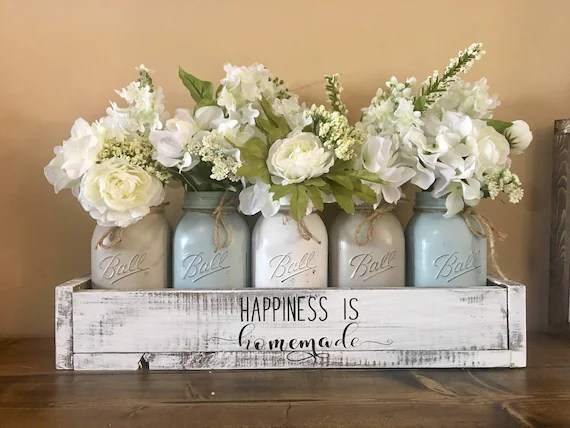 Mason Jar Centerpiece Farmhouse Decor Mason Jar Farmhouse