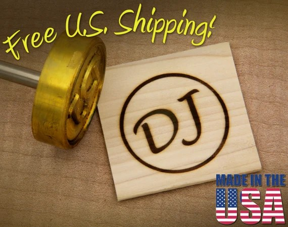 "Branding Iron - 2"" Round Custom Initials with Ring for Wood"