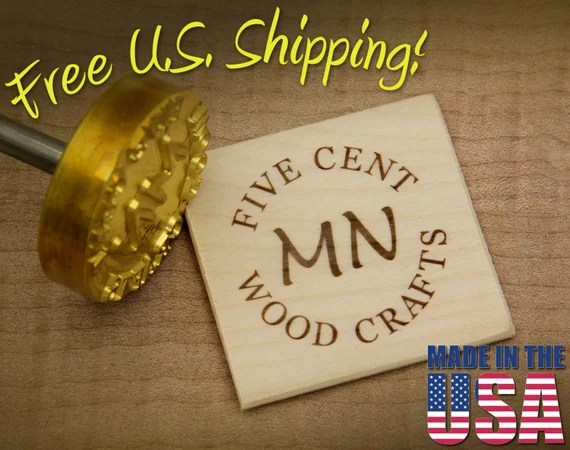 "Branding Iron - 2"" Round Custom Text w/Initials for Wood"