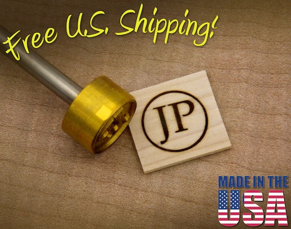 "Branding Iron - 1"" Round Custom Initials with Ring for Wood"
