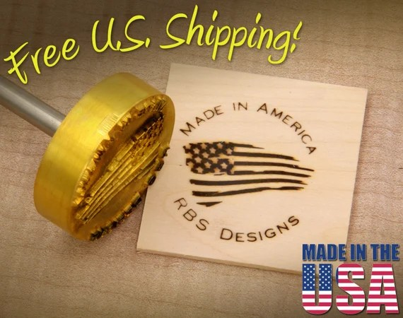"Branding Iron - 2"" Round Custom Text ""Made in America"" with American Flag for Wood"
