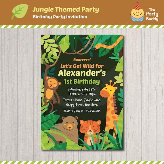 jungle safari wild animals theme birthday party invitation design boys birthday digital printable personalized invite