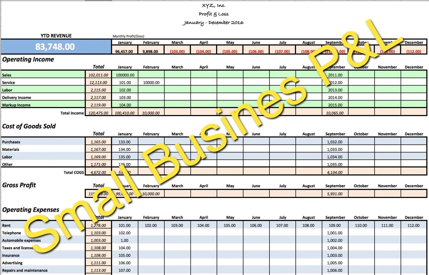 Small Business Income Expense Tracker Monthly Budget And