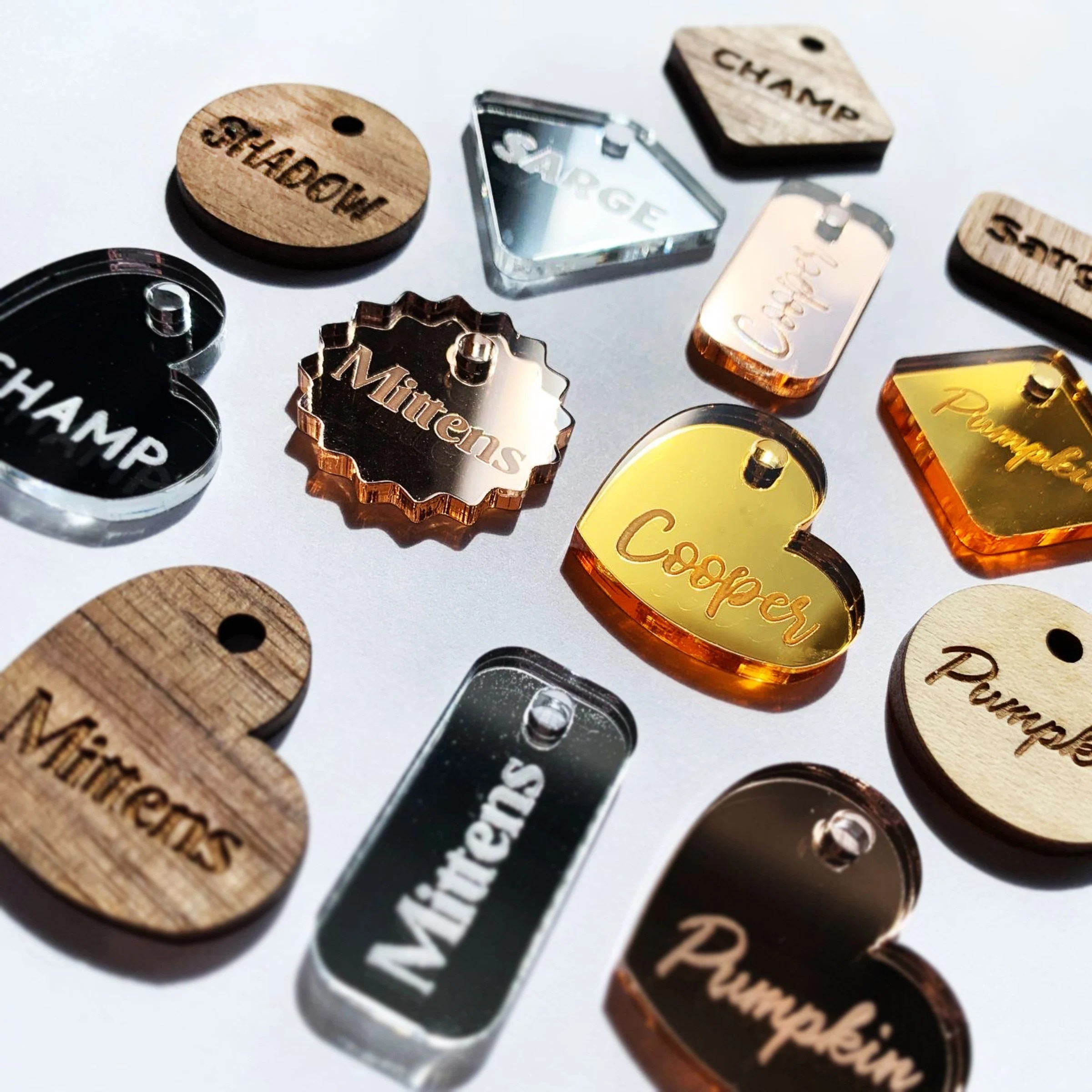 Custom Mirror or Wood Pet Tag Personalized Cat and Dog Pet ID image 6