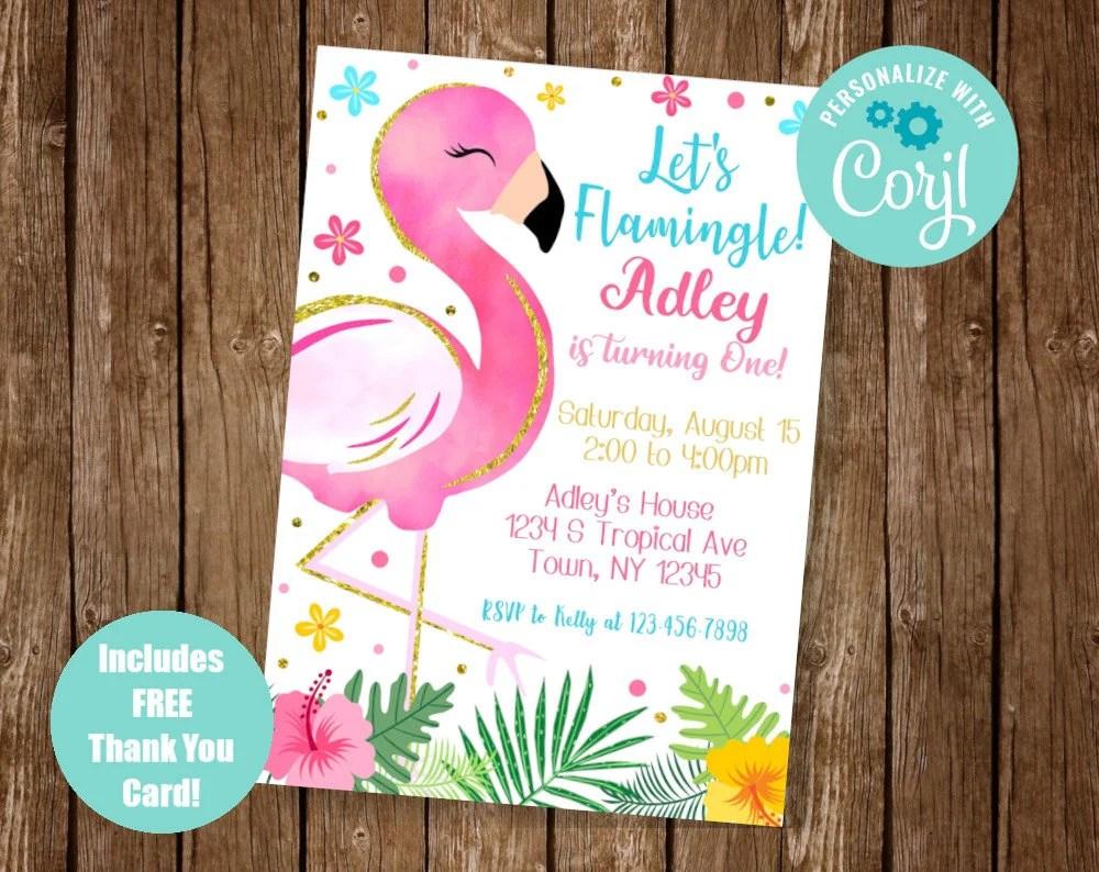 flamingo invitation etsy