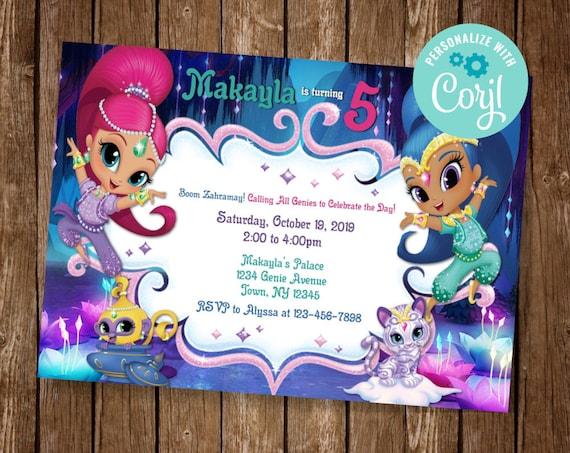 shimmer and shine invitation genie birthday invite shimmer and shine party genie party invite boom zahramay shimmer shine invite