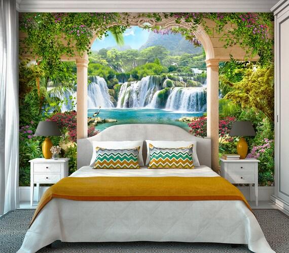 Beautiful Photo Wallpaper Waterfall Arch Wall Mural Decal Art Wall Decor Vinyl Sticker Wallpaper Living Room Home Decor Individual Order