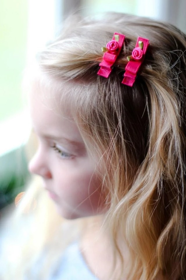 valentine's day hair clips - flower hair clips-toddler hair clips- hair clips for wedding -baby hair clips-baby gift-flower girl hair clips