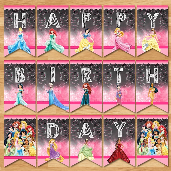 Disney Princess Happy Birthday Banner Chalkboard Disney Etsy