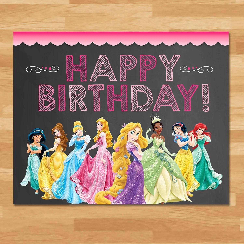 Disney Princess Happy Birthday Sign Chalkboard Princess Etsy