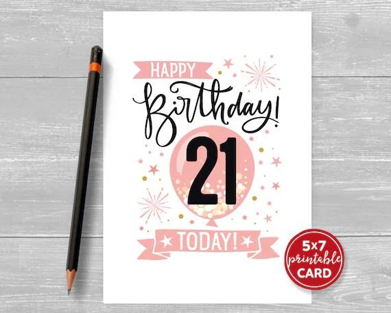 Printable 21st Birthday Card In Pink Happy Birthday 21 Etsy
