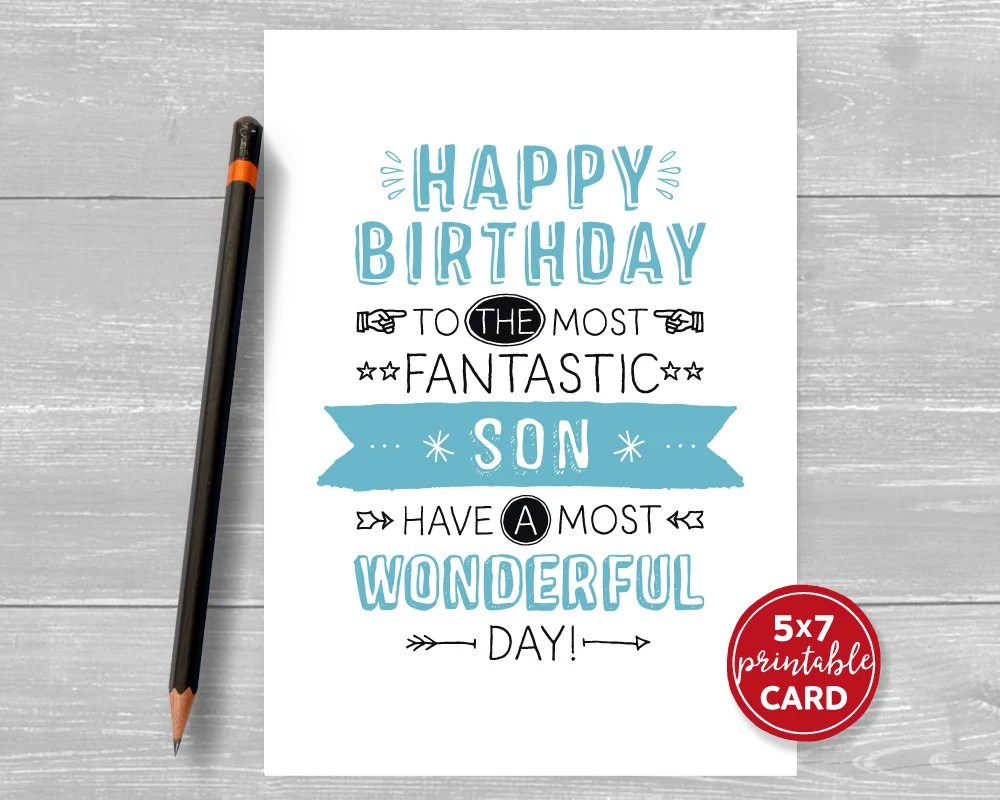 Printable Birthday Card For Son Happy Birthday To The Most Etsy