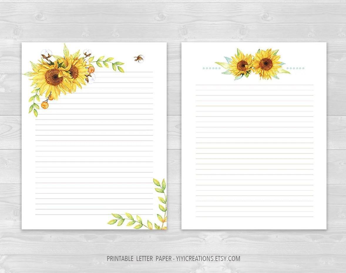 Printable Letter Paper Floral Set Digital Journal Paper