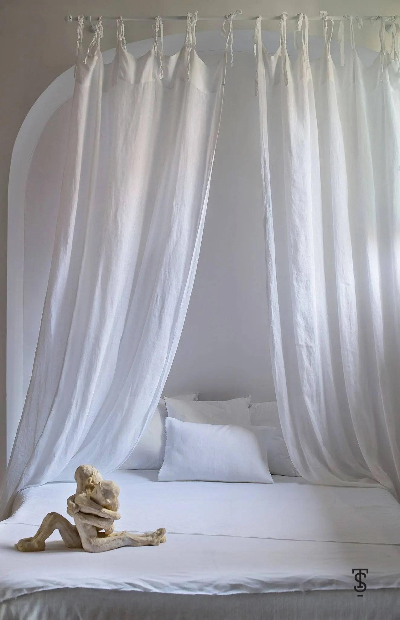 baldaquin de lit blanc verriere de lit de lin rideaux de lit de canopee auvent de lit auvent de lit de pure canopee de lit de filles rideaux de