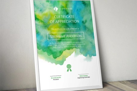 Creative yellow green watercolour corporate business   Etsy Creative yellow green watercolour corporate business certificate template  for MS Word  docx