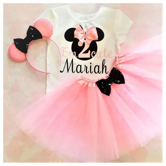 Pink And Black Minnie Mouse 2nd Birthday Outfit2nd Birthday Etsy