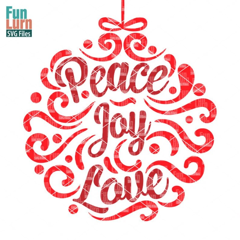 Download Peace Joy Love svg Ornamnent Christmas SVG leaf swirl   Etsy