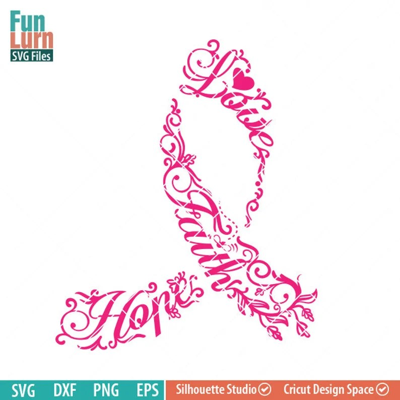 Download Breast Cancer Awareness SVG Faith Love Hope flowers   Etsy