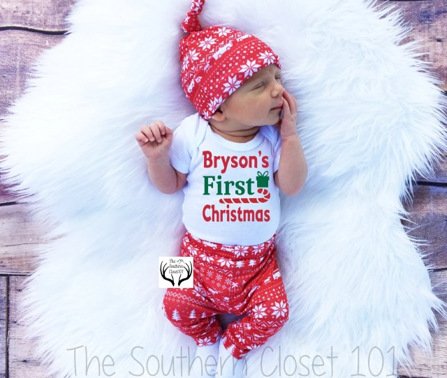 Baby Boy Christmas Outfitpersonalizedfirst Christmasbaby Christmasboys Coming Home Outfitboys Christmasgreenred And White Deer