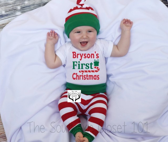 Baby Boy Christmas Outfitpersonalizedfirst Christmasbaby Christmasboys Coming Home Outfitboys Christmasgreenred And White Stripes