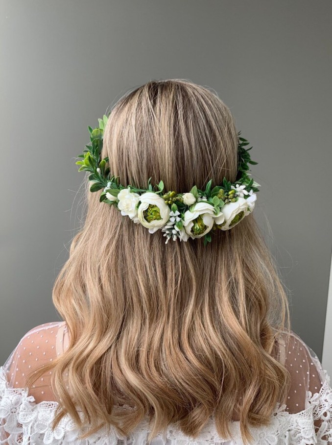 ivory green flower crown wedding hair accessories flower girl crown flower halo bridal flower crown adult floral crown boho floral headpiece
