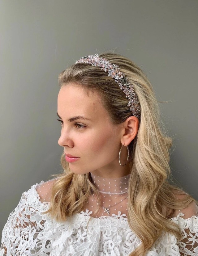 clear bridal headpiece wedding hair accessories crystal jeweled tiara dolce crown adult beaded headband wedding hairpiece baroque headband