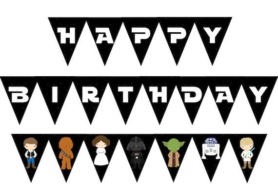 Star Wars Birthday Banner Printable Star Wars Birthday Etsy