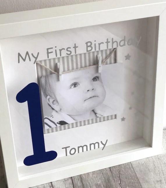 Personalised Baby S 1st Birthday Photo Box Frame Baby Etsy