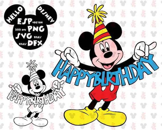 Disney Svg Mickey Mouse Happy Birthday Clipart Disney Cut Etsy