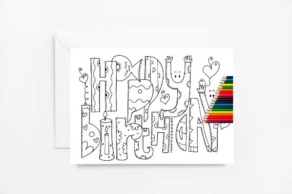 Happy Birthday Coloring Cards Coloring Card Adult Coloring Etsy