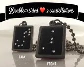 Personalized Written In The Stars 2-Sided constellation Necklace his & hers Crystal Stars Custom Constellation Necklace LuckyStarDreams