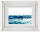 Modern Abstract Seagulls in a Row, Seascape Tidal Landscape Jersey Shore house art decor Cape May NJ beach nature birds, Lucky Star Dreams
