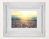Modern Cape May Beach Pebble Sunset, Seascape Tidal Landscape Jersey Shore house art decor Cape May NJ beach coastal style Lucky Star Dreams