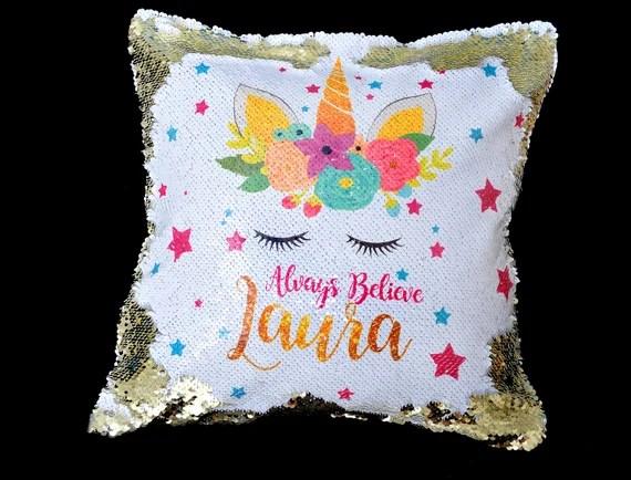 Personalised Unicorn Sequin Pillow
