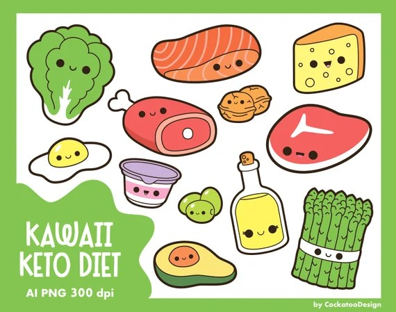 Kawaii Food Clipart Keto Diet Clipart Kawaii Clipart Meat Clipart Healthy Food Clipart Asparagus Clipart Kawaii Vegetables Clipart By Cockatoodesign Catch My Party