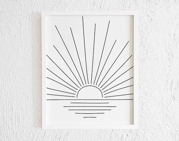 Minimalist Half Sun On Ocean Drawing Doodle Art Print Etsy